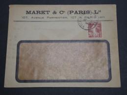FRANCE - Type Semeuse Perforé MC Sur Enveloppe Commerciale En 1924 - A Voir - L 2406 - Perforés