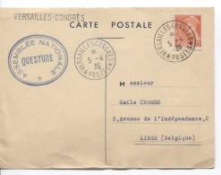 TP 409 S/CP C.Versailles-Congrès 5/4/1939 Assemblée Nationale Questure V.Liège PR3486 - Marcophilie (Lettres)