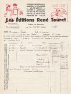 Facture 17/11/1945 Les Editions RENE TOURET Contes De Perrault Zozo En Avion LA CHATRE  Indre - France