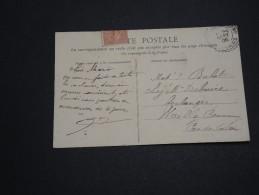 FRANCE - Type Semeuse Perforé BCo Sur Carte Postale En 1908 - A Voir - L 2418 - Perforés