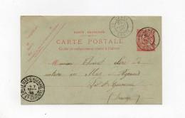 !!! CRETE : ENTIER POSTAL 10C MOUCHON POUR LA FRANCE, CACHET LA CANEE 1903