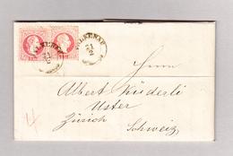 Österreich Tschechein FALKENAU 20.2.1870 Brief Nach Uster Mit 2 Mal 5Kr - Briefe U. Dokumente
