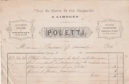 Facture 26/9/1873 POLETTI Fourneaux Cheminées En Marbre Fumisterie LIMOGES Haute Vienne - France