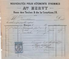 Facture 9/8/1875 A HERVY Vêtements LIMOGES Haute Vienne - France