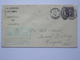 CANADA 1928 FLIGHT COVER MONTREAL TO KINGSTON ONTARIO GOLDEN JUBILEE FLIGHT TO CANADIAN NATIONAL EXHIBITION - Erst- U. Sonderflugbriefe