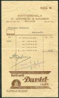 1935 Iceland Kaffibrensla O. Johnson & Kaaber, Reykjavik Shop Receipt / Coffee Advert - Invoices & Commercial Documents