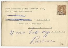 1947 - ANNULATION LINEAIRE à TROYES (AUBE) Sur CARTE De RADIO AMATEUR De MONTEVIDEO (URUGUAY) - Postmark Collection (Covers)