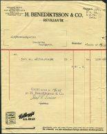 1935 Iceland Benediktsson & Co. Reykjavik Kellogg's All-Bran Illustrated Advertising Receipt - Invoices & Commercial Documents