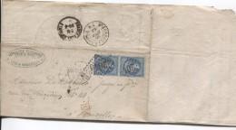 TP 22(2) S/L.de A.Faucompré Vins&spiritueux C.Lille 19/4/1865 +ambt France Par Midi 1 V.Bruxelles St-Josse-Ten-Noode - Marcophilie (Lettres)