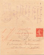 ENTIER DU 9 OCTOBRE 1911 DE PARIS POUR MAISONS LAFFITTE - Entiers Postaux