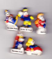 5 Fèves Pasquier Les Sports D'hiver Boules De Neige Alpinisme 2 Mauvaise Chute Différents Bobsleigh - Personnages