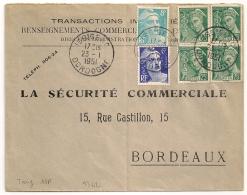 BEL AFFRANCHISSEMENT Au Tarif, GANDON MERCURE, ISSIGEAC Dordogne Sur Enveloppe. 1951 - Marcophilie (Lettres)