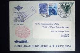 Netherlands: Mac Robertson Air Race Met De UIVER PH.AJU Hilversum Amsterdam London Sydney  Vlieg Hol 98  1934 - Periode 1891-1948 (Wilhelmina)