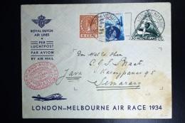 Netherlands: Mac Robertson Air Race UIVER PH.AJU Den Bosch London Sydney Semarang Vlieg Hol 98  1934  Snelvlucht St - Brieven En Documenten