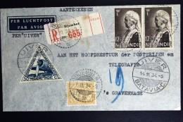 Netherlands East Indies UIVER Return Flight Djember Jawa Aangetekend Naar Den Haag1934 - Indes Néerlandaises