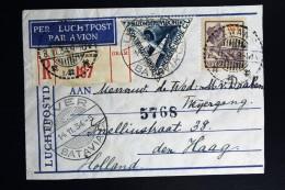 Netherlands East Indies UIVER Return Flight Lawang Aangetekend Naar Den Haag 1934 - Indes Néerlandaises