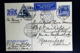 Netherlands East Indies UIVER Return Flight  Postwaarde Stuk  Malang Batavia Naar Den Haag - Indes Néerlandaises