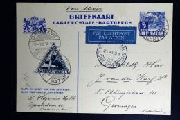Netherlands East Indies UIVER Return Flight  Postwaarde Stuk   Batavia Naar Den Haag - Indes Néerlandaises