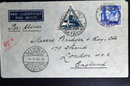 Netherlands East Indies UIVER Return Flight Sukabumi Naar London 1934 - Indes Néerlandaises