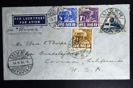 Netherlands East Indies UIVER Return Flight Bandoeng Batavia Covina Cal. USA  1934 - Indes Néerlandaises