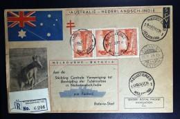 Australia: Batavia Melbourne 2 Times Register Cover 1934 Emma Stamps - Luftpost