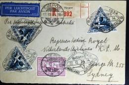 Netherlans East Indies Tjepoe  To Sydney  Registered Cover  Uiver Snelvlucht 1934 - Netherlands Indies