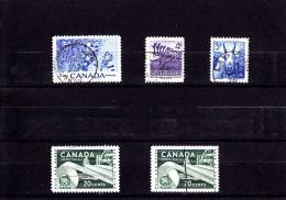 1956 - CANADA - O/FINE CANCELLED - HOCKEY, FAUNA, PAPER IND.  Sc 359, 360, 361, 362