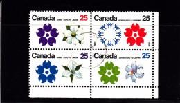 1970  - CANADA - O/FINE CANCELLED - OSAKA EXPO - FLOWERS ATT. Sc 508/11  Mi 451/4   Yv 429/32