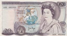 (B0620) GREAT BRITAIN, 1970-1980 (ND). 20 Pounds. P-380b. XF - 1952-… : Elizabeth II
