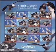 Georgia South, 2012, Birds, WWF, Minisheet Seabirds - W.W.F.