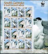 South Georgia, Penguins, 2008  WWF, Sheet 4x4 - W.W.F.