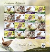 Falkland, Birds, WWF, 2009, Sheet 4x4 - W.W.F.