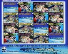 Grenada-Martinique, Lobsters, 2009, Sheet 4x4 WWF - W.W.F.