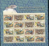 St.Lucia, Lizards,  WWF, 2008, Sheet 4x4 - W.W.F.