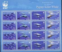 Tuvalu, Whales, WWF, 2006, Sheet 4x4 - W.W.F.