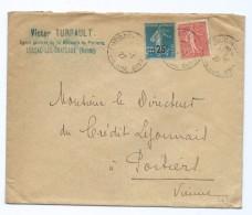1538 - Lettre 1927 Victor TURPAULT à Lussac Les Châteaux Semeuse Surcharge 25c Circulée Pour Poitiers Crédit Lyonnais - Postmark Collection (Covers)