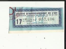 Action Au Porteur De (Societé D'Investissement De L'Est)  No 057.406 _Precedemment Cie Des Chemins De Fer De L'Est - Railway & Tramway
