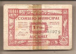 Alcaniz - Banconota Circolata Da 1 Peseta - 1937 - Guerra Civile Spagnola - [ 3] 1936-1975 : Régence De Franco