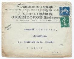 1553 - Lettre 1908 L' Electrométrie Usuelle DESRUELLES  GRAINDORGE Boulevard Voltaire Paris Semeuse Pour Lille - Marcophilie (Lettres)