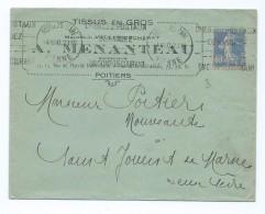 1524 - Lettre 1930 Tissus En Gros MENANTEAU à Poitiers Semeuse 40c Pour Saint Jouin De Marnes - 1921-1960: Periodo Moderno
