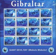 Gibraltar, Fishes, 2006, WWF, Sheet 4x4 Giant Devil Ray - W.W.F.