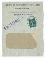 1556 - Lettre 1911 Facture Société Constructions Métalliques DROUARD à Baccarat Convoyeur  Saint Dié à Blainville - Postmark Collection (Covers)