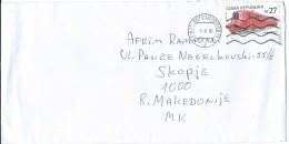 Czech Republic Via Macedonia.letter 2016.nice Stamp.motive - Train,railway,locomotive - Czech Republic