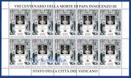 FOGLIO 800° Papa INNOCENZO III VATICANO 2016 Francobolli - Sheet Stamps Pope INNOCENT VATICAN MNH - Pape Feuille Timbres - Blocs & Hojas