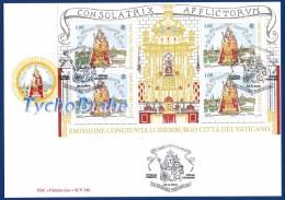 FDC VERGINE MARIA CONSOLATRICE AFFLITTI VATICANO 2016 Joint LUSSEMBURGO First Day Cover Busta Primo Giorno FILITALIA 346 - FDC