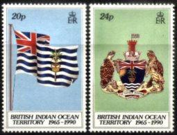 BIOT, 1990, 25TH ANNIVERSARY OF THE TERRITORY, YV#108-109, MNH - British Indian Ocean Territory (BIOT)