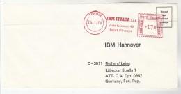 1978 ITALY COVER METER SLOGAN Pmk IBM ITALIA FIRENZE To IBM Germany  Computing - Computers