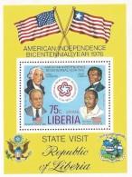 B)1976 LIBERIA, VISIT, PRESIDENT, FLAGS,  GEORGE WASHINGTON, FORD, ROBERTS, TOLBERT,  AMERICAN BICENTENNIAL AND VISIT OF - Liberia