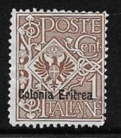 Eritrea, Scott # 19 Unused No Gum Italy Stamp Overprinted, 1903 - Eritrea