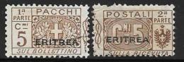 Eritrea, Scott # Q9 Parts 1,2 Italy Parcel Post Stamps Overprinted, 1917, Part 2 Has Short Perf - Eritrea